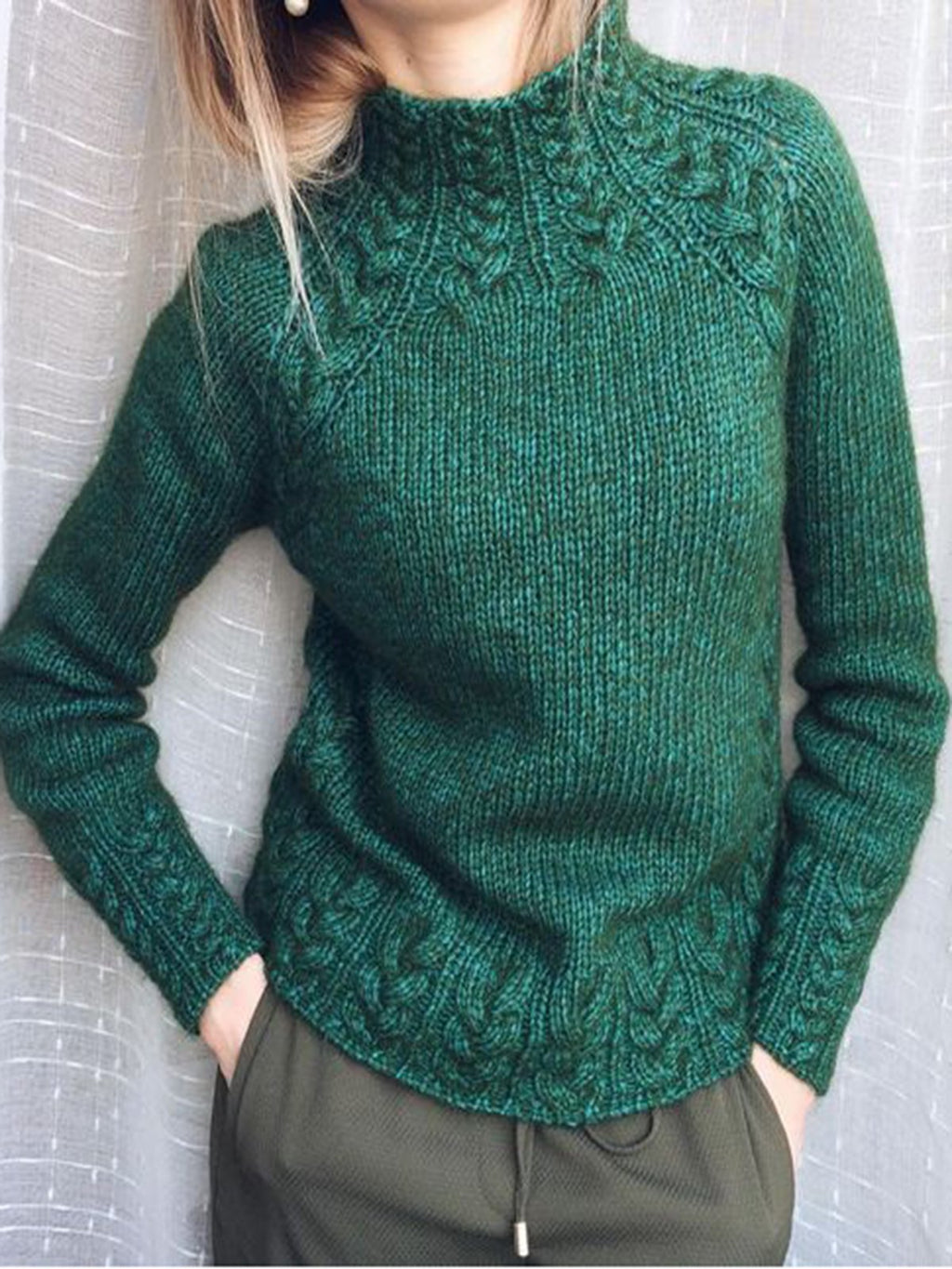 Women's Fashion Sweaters Deep Green Turtleneck Cotton-Blend Vintage Tops