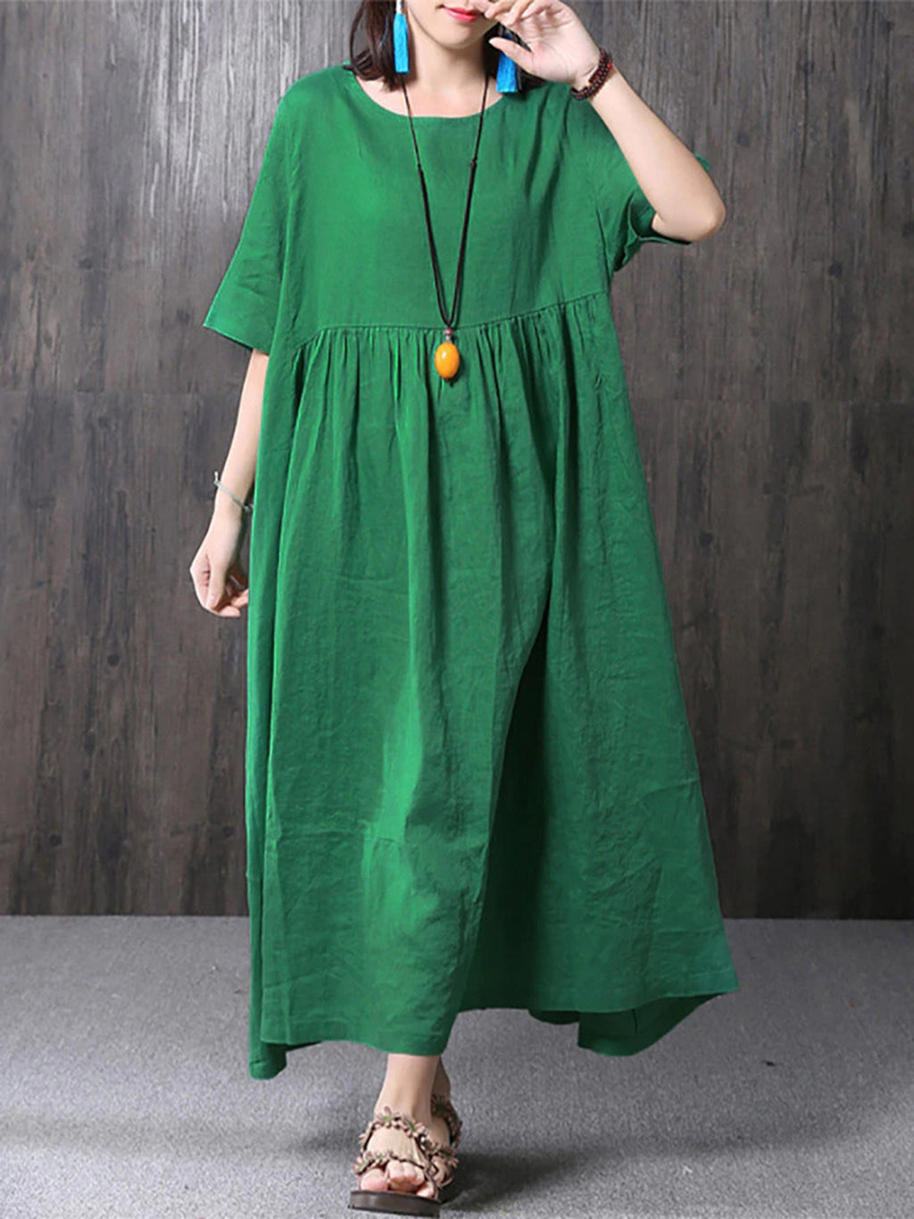 Pockets Half Sleeve Casual Crew Neck Casualdress