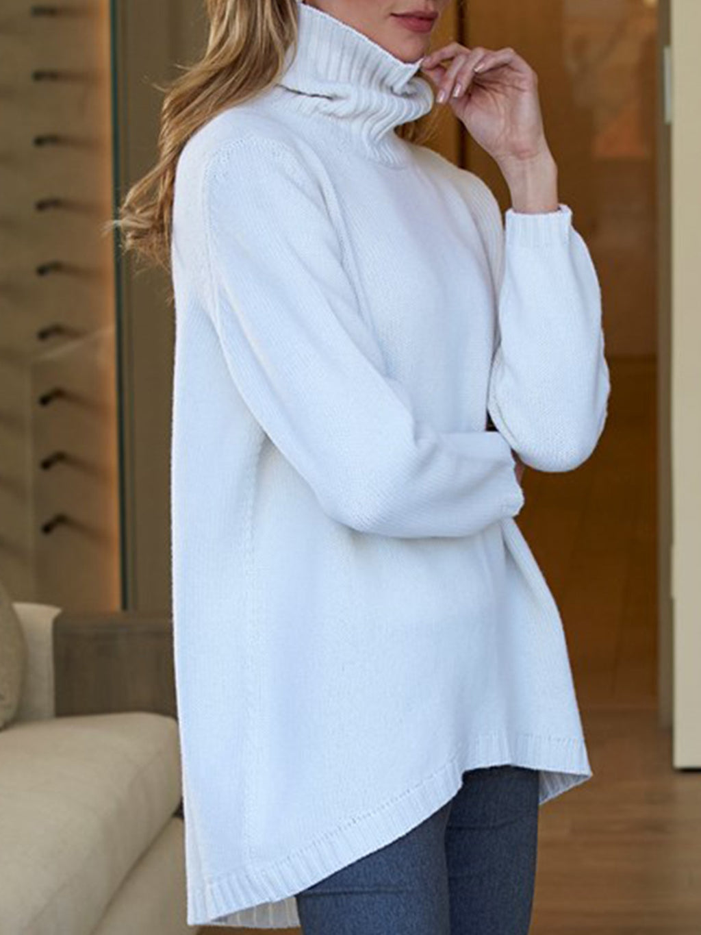 Women's Plus Size Sweater  Solid Turtleneck Retro Sweater