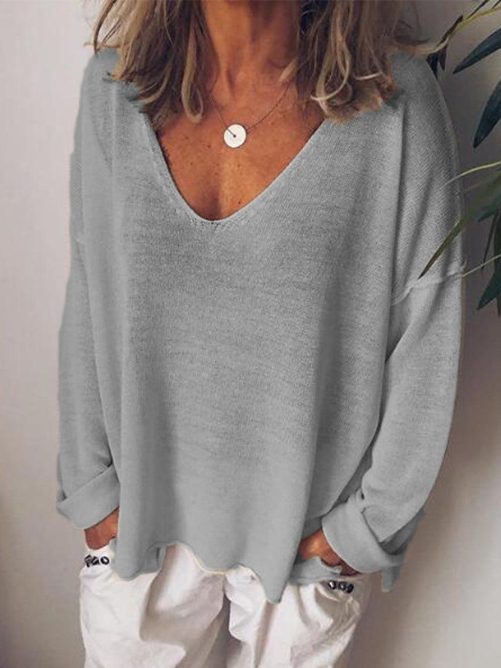 Cotton-Blend Long Sleeve V Neck T-Shirts