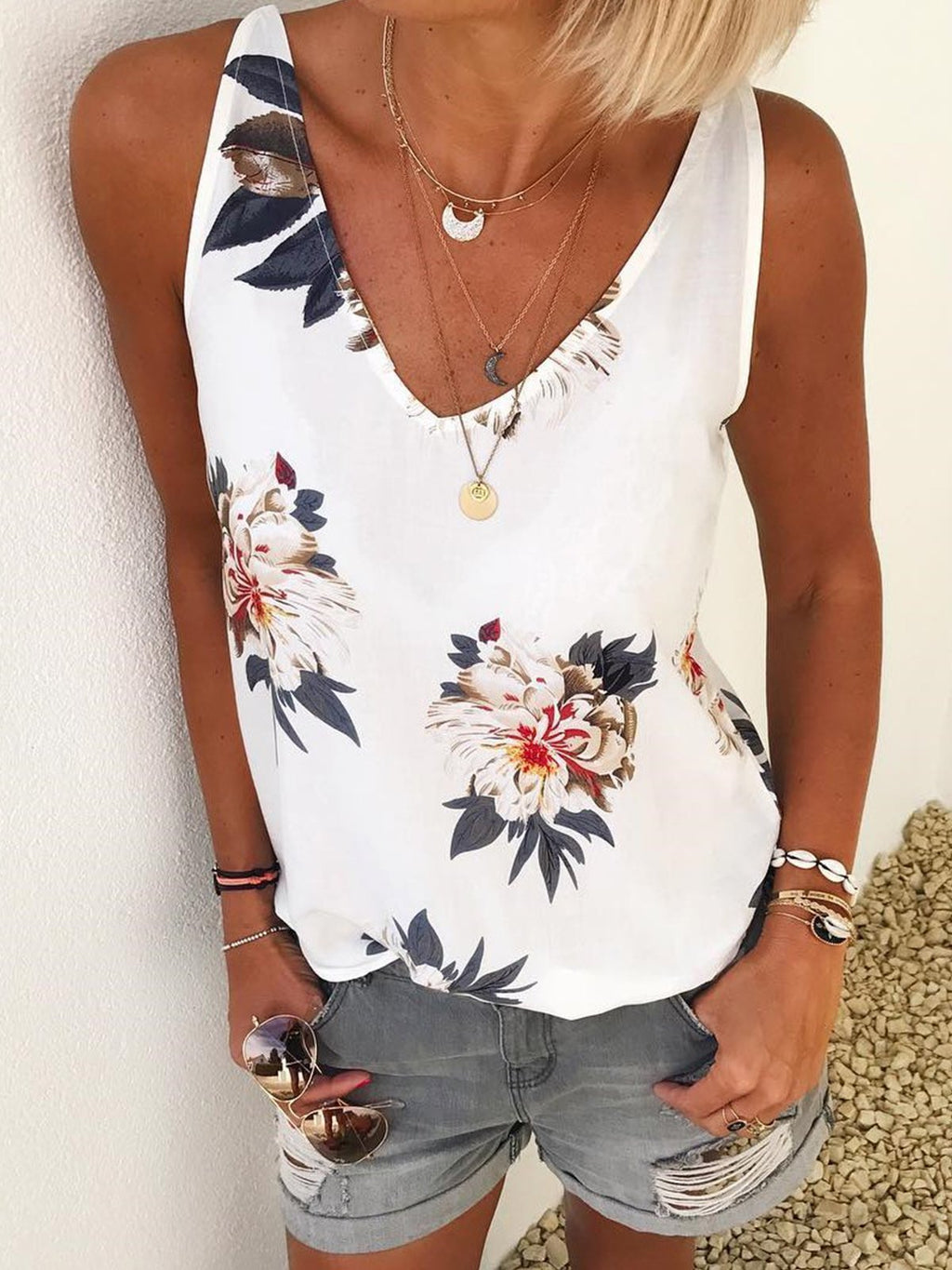 V-Neck Flora Sleeveless Top