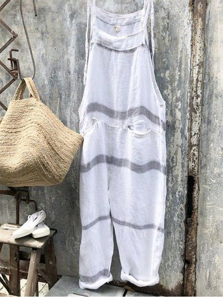 Casual Sleeveless Striped Jumpsuits  Cotton pocket jumpsuit