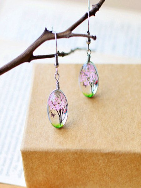 Womens Nature Glass Flower stud Earring