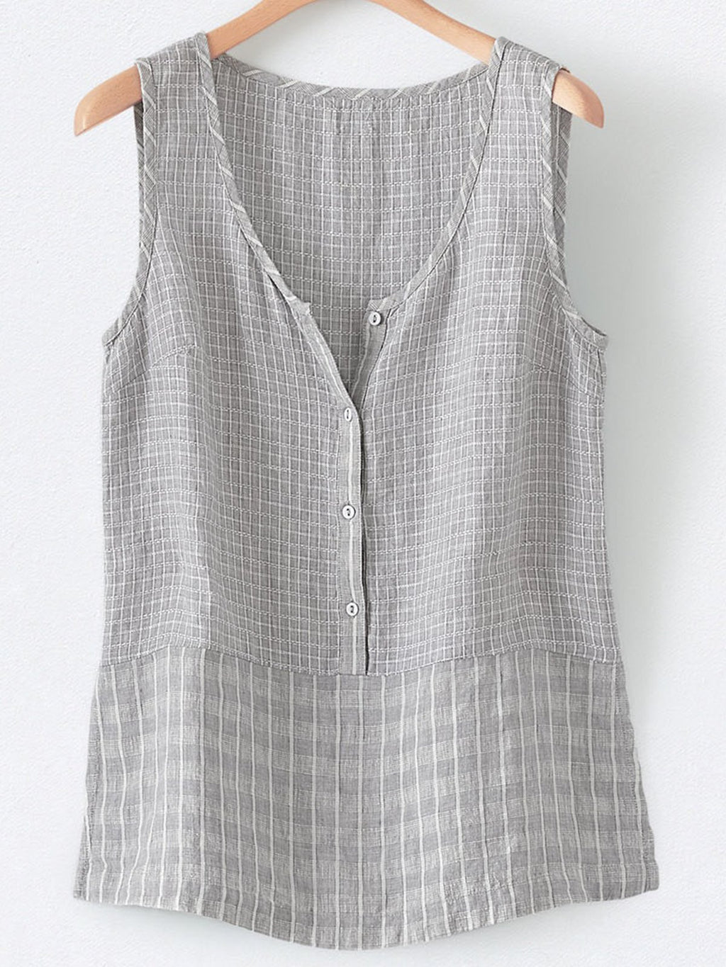 Cotton-Blend V Neck Sleeveless Buttoned Vest
