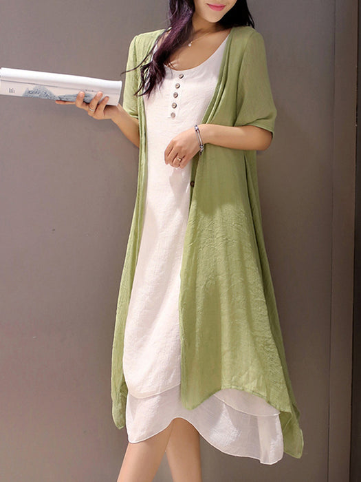 Women Plus Size Solid Crew Neck Short Sleeve Two Piece Maxi Linen Dresses