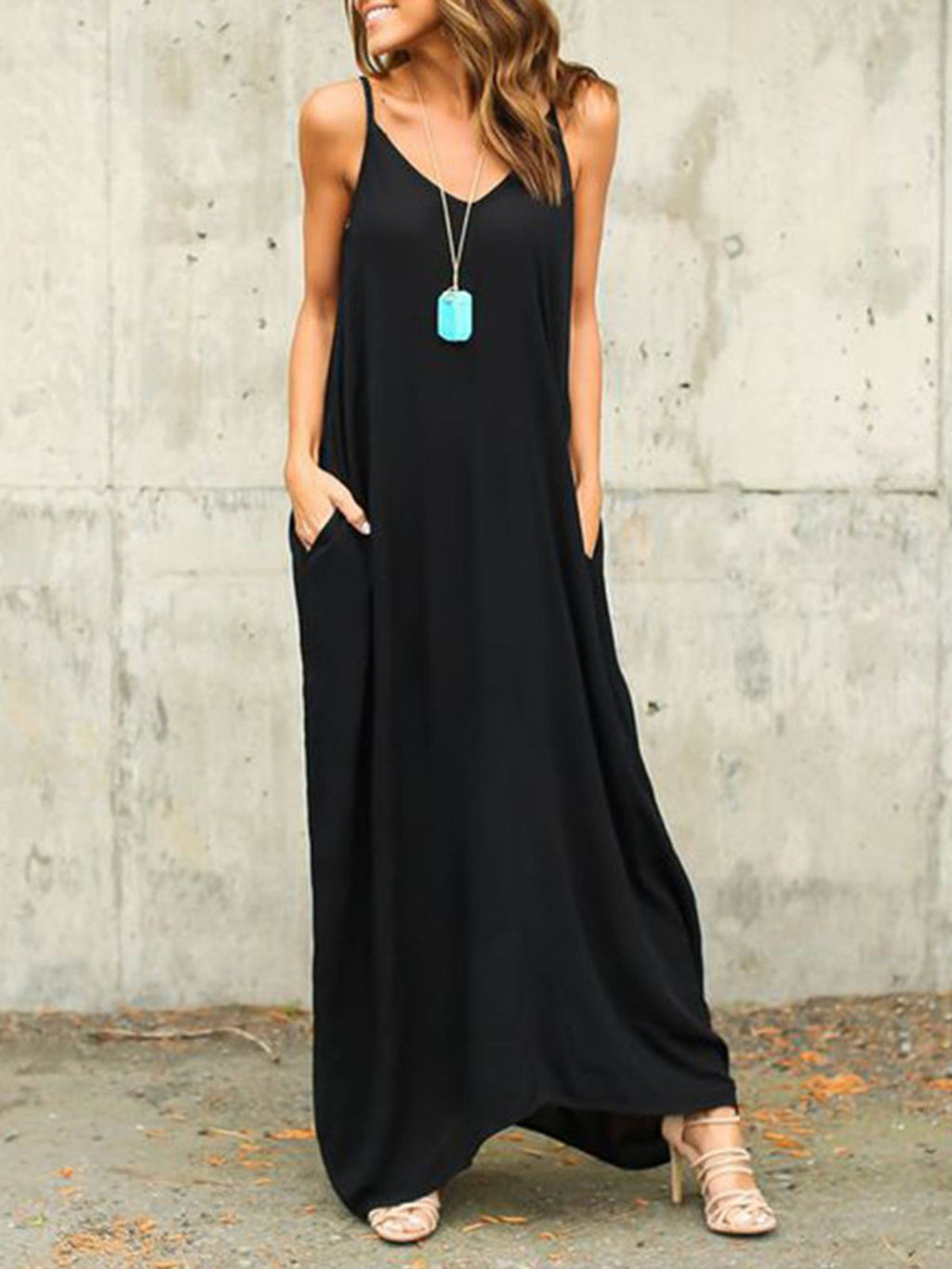 Women Summer Spaghetti A-line Resort Solid Maxi Dresses
