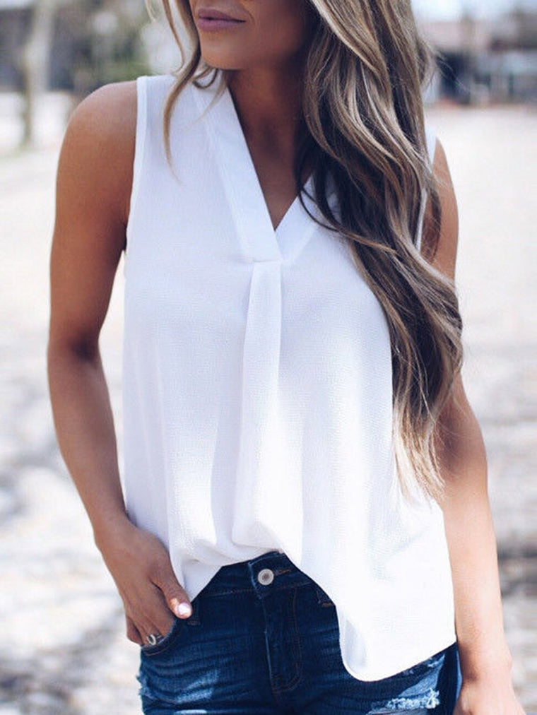 Sexy V-Neck Sleeveless Chiffon T-Shirt