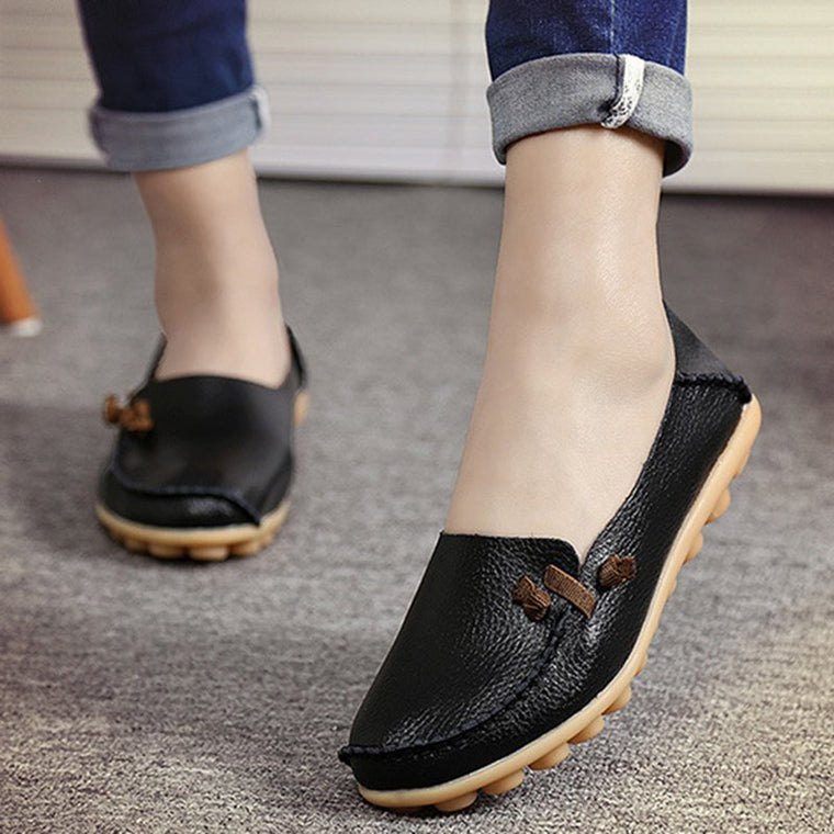 Women Artificial Leather Boat Shoes Large Size Non Slip Loafers