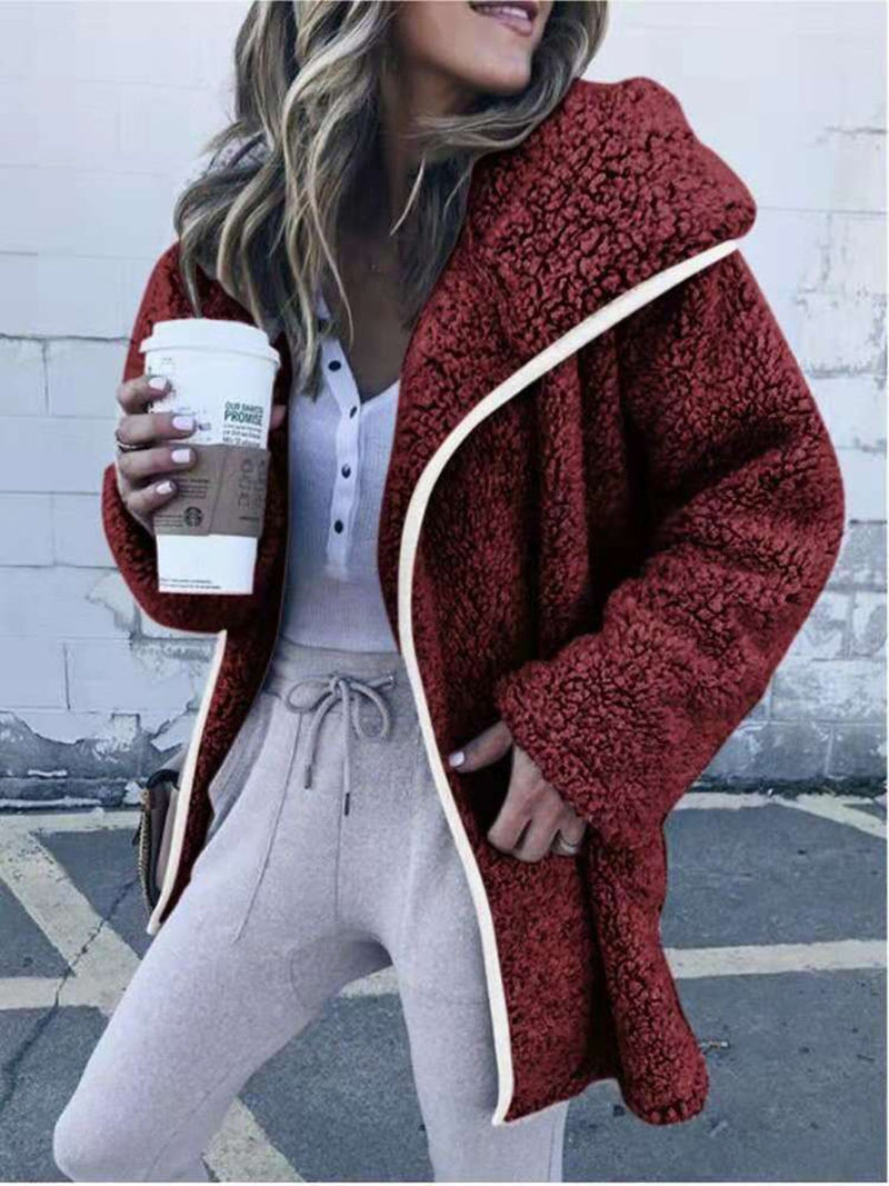 Womens Teddy Bear Coat Fuzzy Pocket Hoodie Teddy Coat
