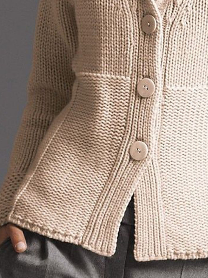 Women Retro Knitting Coat Beige Cotton-Blend Casual Sweater