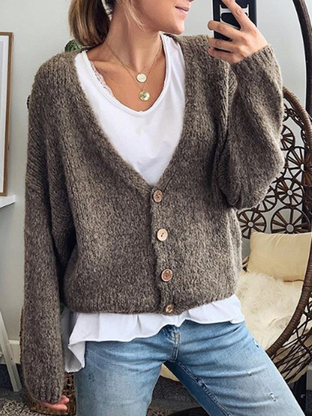 Long Sleeve Plain V Neck Cardigans