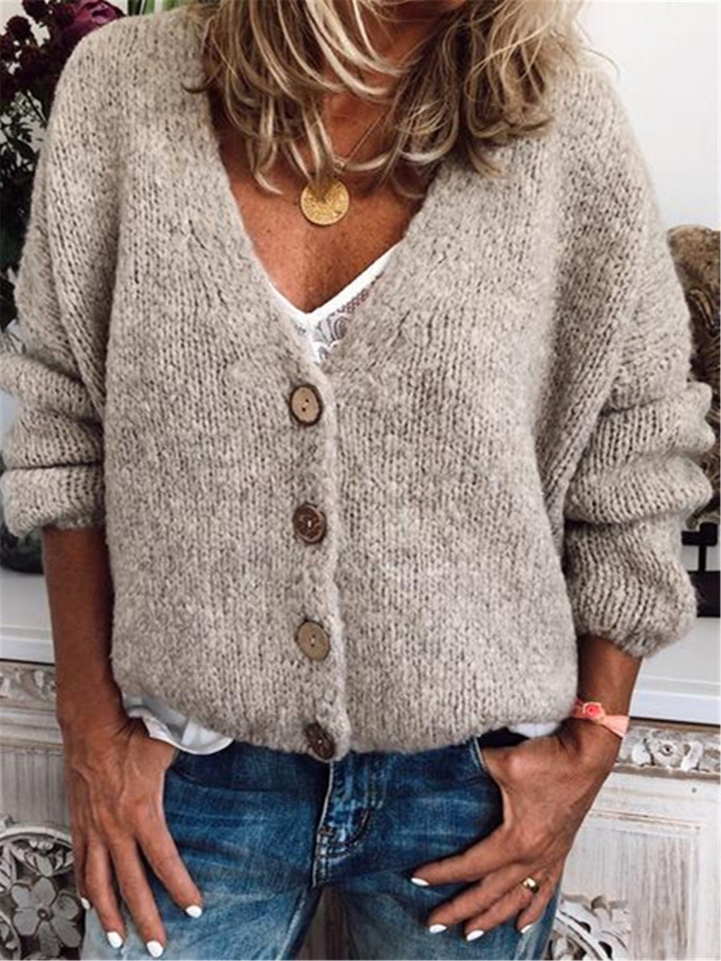 Plus Size Sweaters V Neck Long Sleeve Cotton-Blend Cardigans