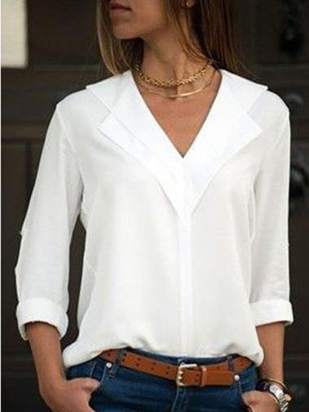 Long Sleeve V Neck Blouses&shirts