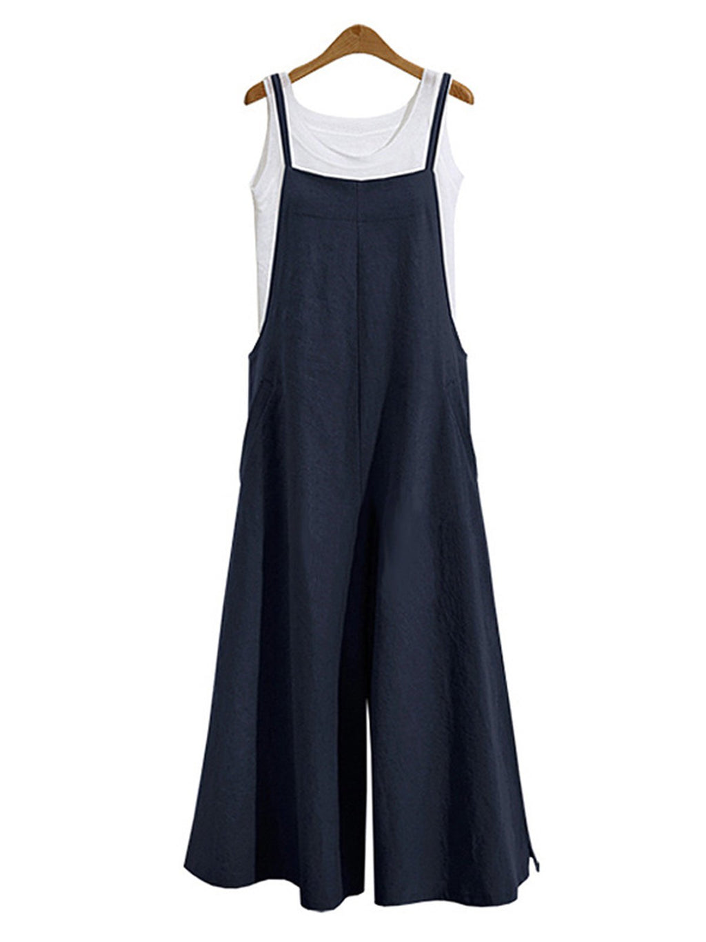 Women Casual Solid Spaghetti Wide Leg Pockets Jumpsuits Loose Bib Overalls Jumpsuits