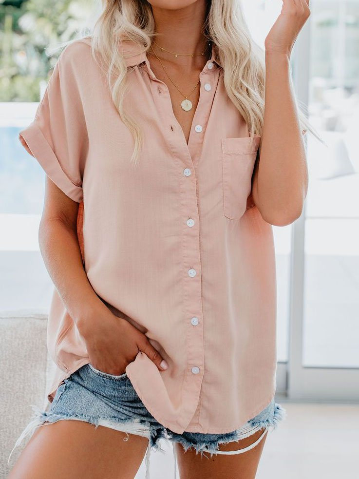 Turn-Down Collar Buttoned Casual Blouses&shirts