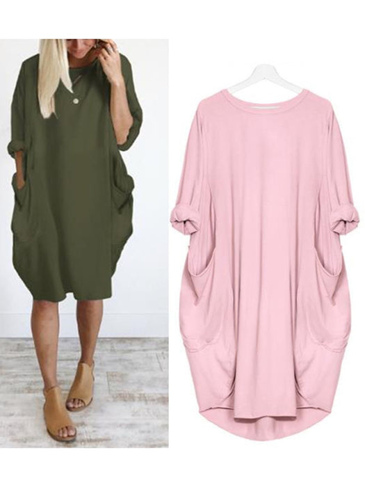 Women Plus Size Solid Crew Neck Solid Batwing Sleeve Cocoon Pockets Shift Dresses