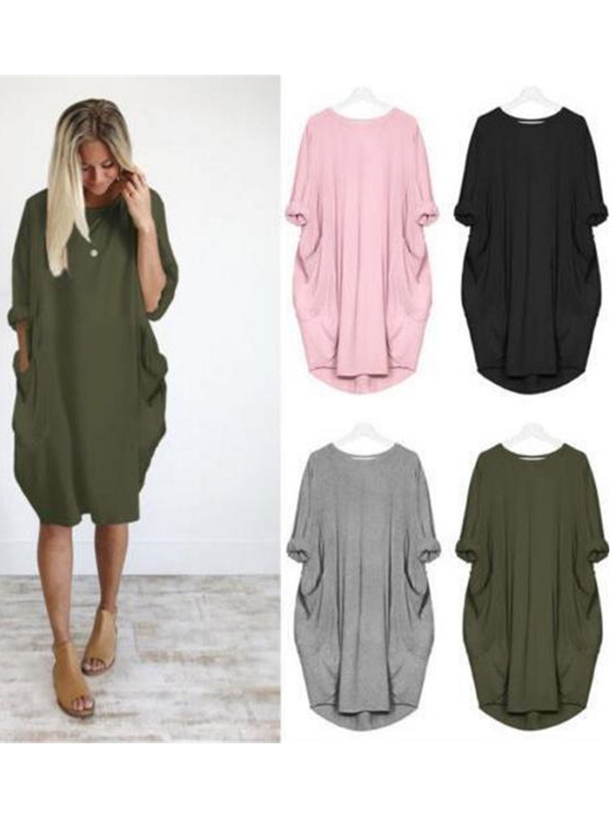 049a1129e101 ... Women Plus Size Solid Crew Neck Solid Batwing Sleeve Cocoon Pockets  Shift Dresses ...