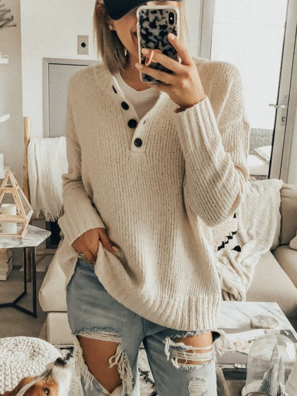 Acrylic Buttoned Solid Casual Sweaters