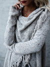 Casual Cowl Neck Knitted Plain Sweaters