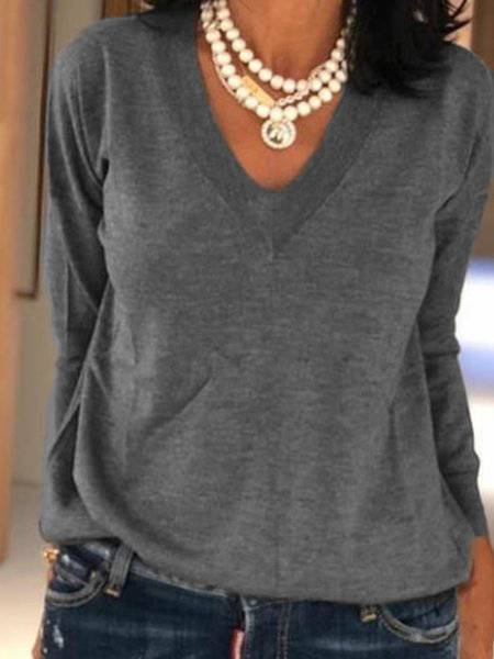 V Neck Plain Long Sleeve Cotton T-Shirts