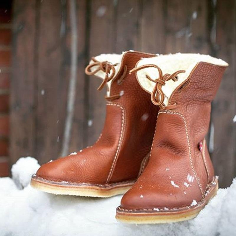Womens Winter Snow Boots Fur Lined Leather Boots