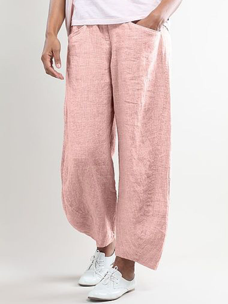 Women Solid Casual Linen Pants