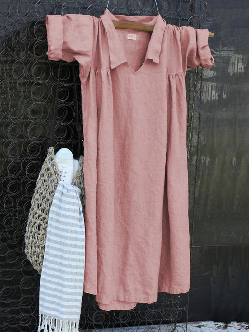 Shift Long Sleeve V-Neck Cotton Casualdress