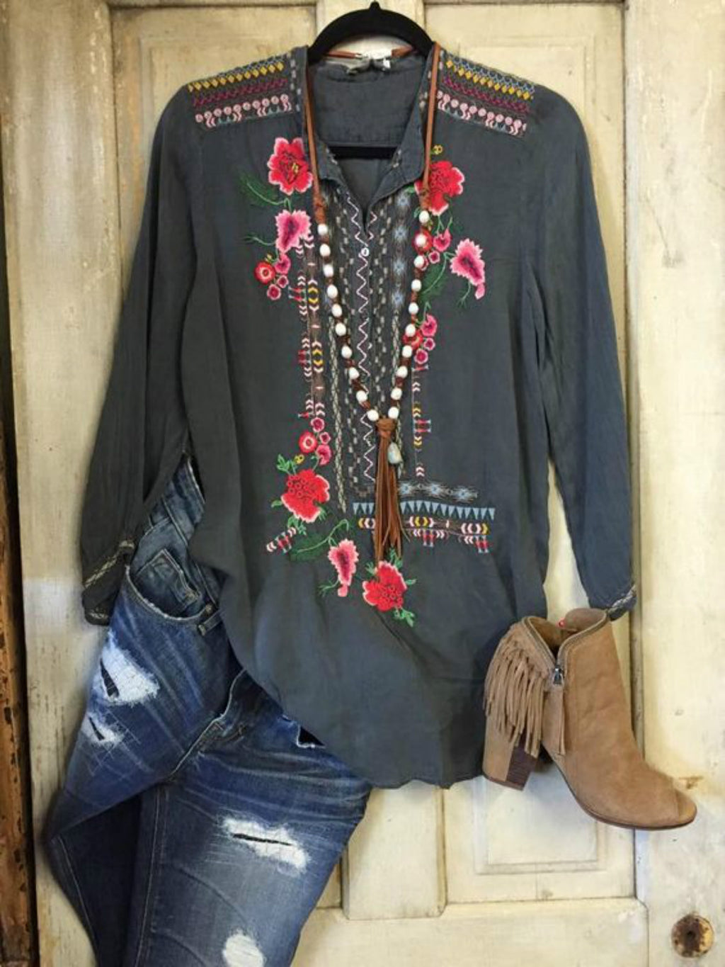 Women Floral Shift Casual Shirts & Tops