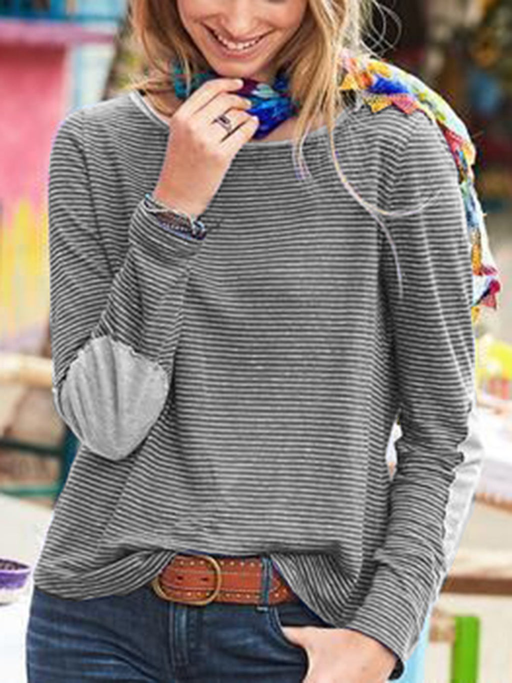 Casual Striped  Shirts Crew neck long sleeves  Tops