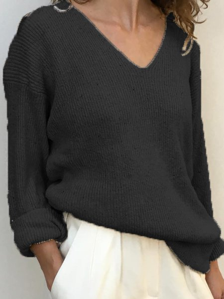 Fashion Plus Size Sweater Plain V-neck Casual Long Sleeve Sweaters