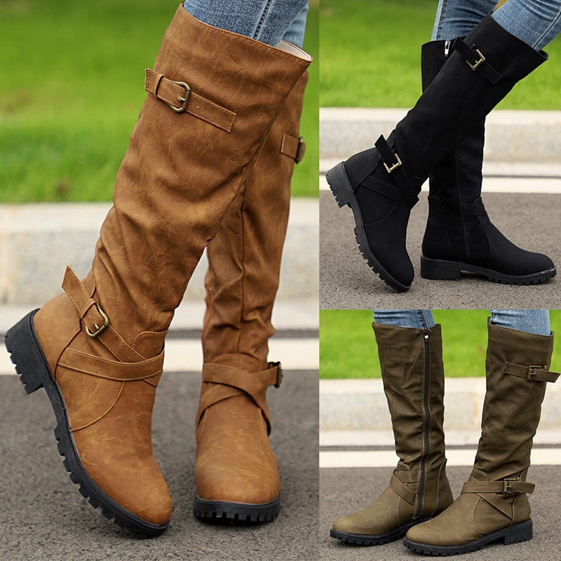 Zipper Low Heel Fall Boots