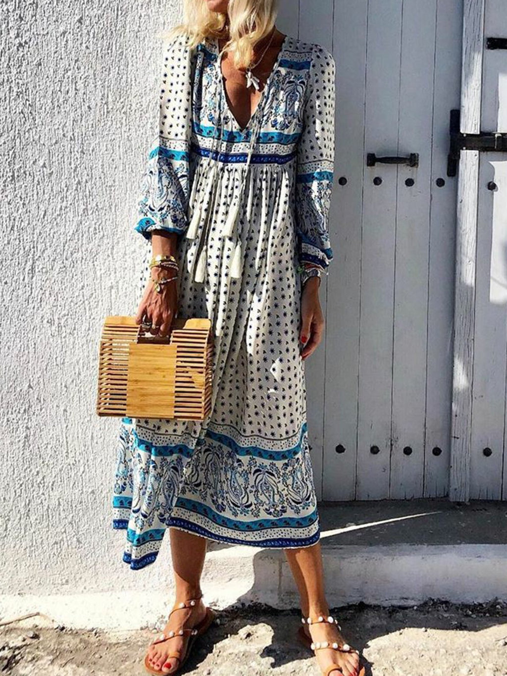 Paneled Boho 3/4 Sleeve V-Neck Summer Dress