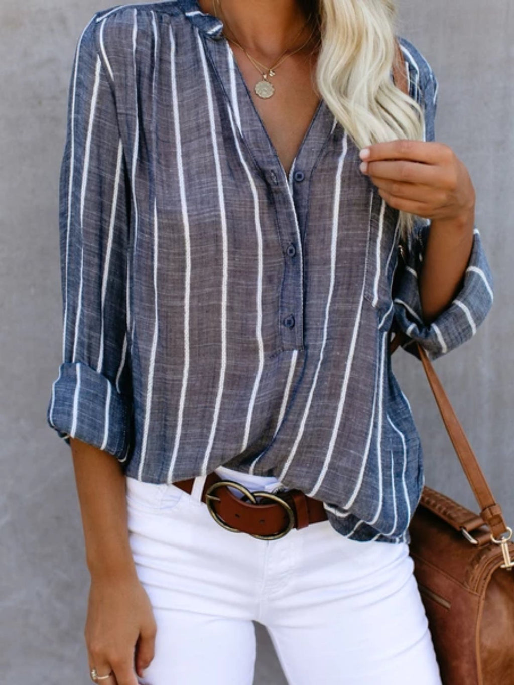 Pockets Striped Long Sleeve V Neck Blouses&shirts