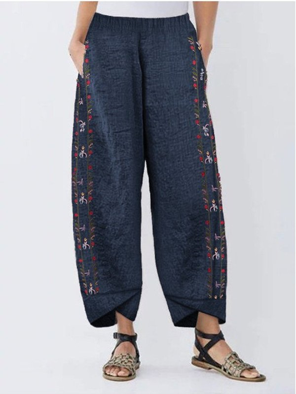 Casual Asymmetric Floral Pants