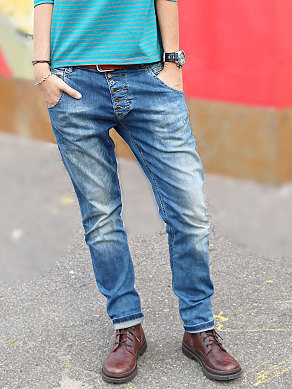 Button Down Pockets Denim Pants Jeans