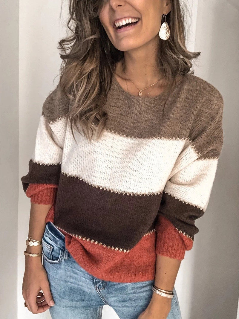 Fashion Women Plus Size Sweater Long Sleeve Colorblock Casual Sweater