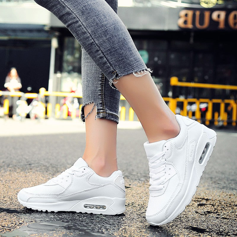 Flat Heel Sports Mesh Fabric Lace-Up Sneakers