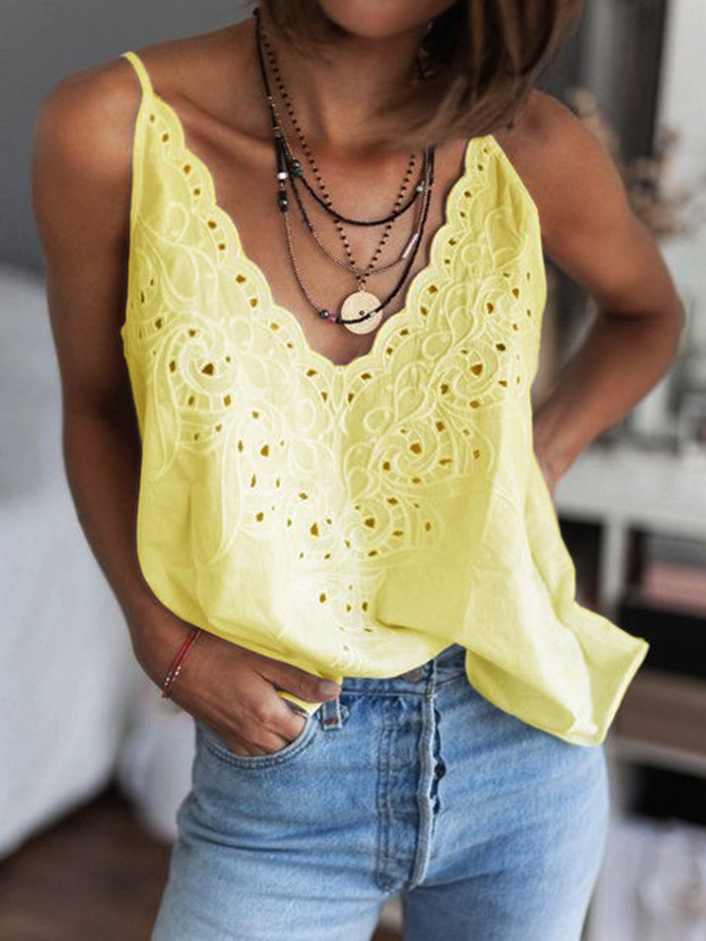 Cotton-Blend V Neck Casual Vest