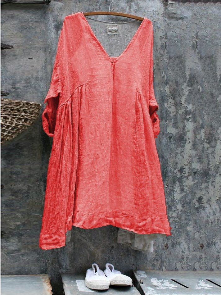 Women Plus Size Solid Short Sleeve V Neck Linen Dresses