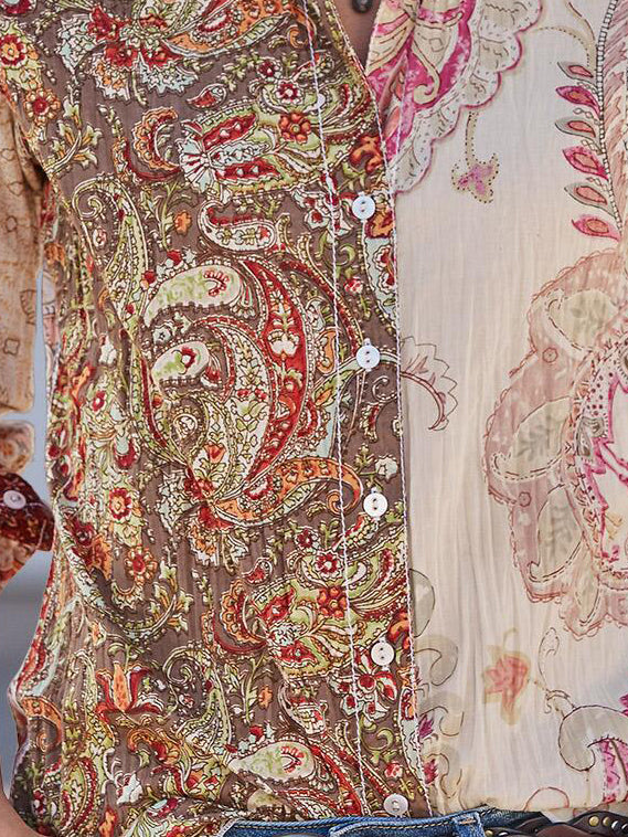 Casual Paisley Cotton Shirts & Tops