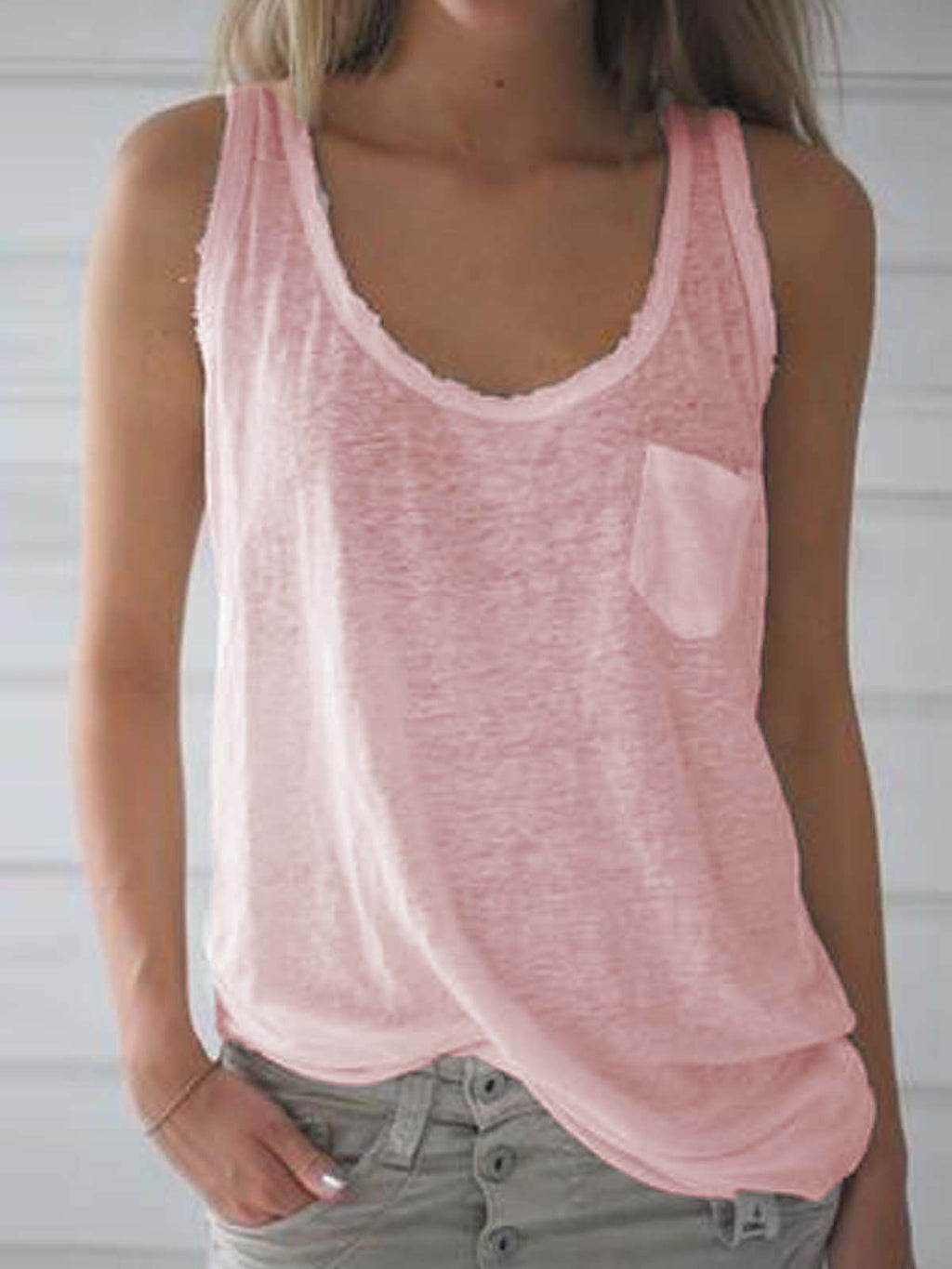 Plain Sleeveless V Neck Casual Vest