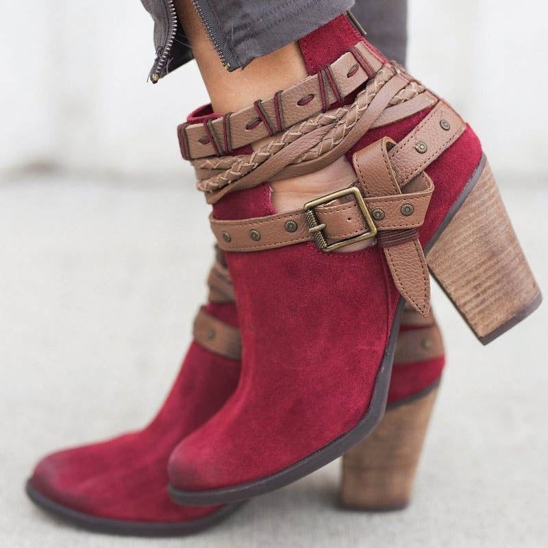 Faux Suede Adjustable Buckle Boots