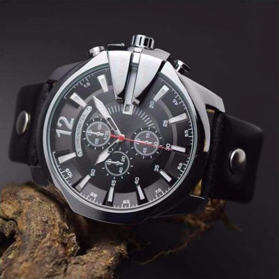 Chronometer Luxury Watch Silver & Black  chronograph leather band wrist luxury timepiece curren