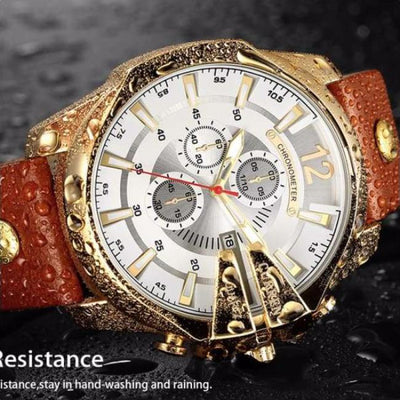 Chronometer Luxury Watch  chronograph leather band wrist luxury timepiece curren