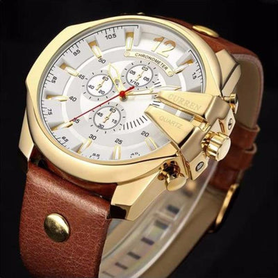 Chronometer Luxury Watch Gold & White chronograph leather band wrist luxury timepiece curren
