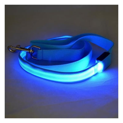 Rechargeable Led Dog Collar Leash (Blue) Illuminating Illumination Light LED dog collar Pet Collar Flashing
