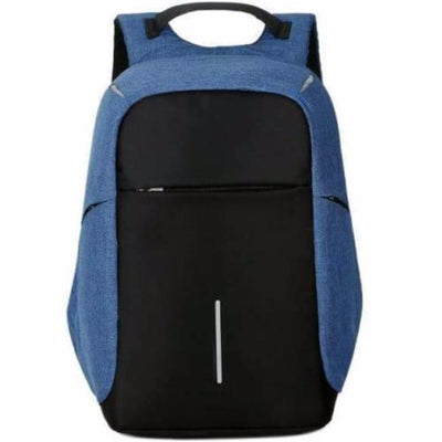 Anti-Theft Backpack - 3 Way Zipper Design Blue Anti-Theft Backpack bag travel USB charging compartment  pacsafe laptop