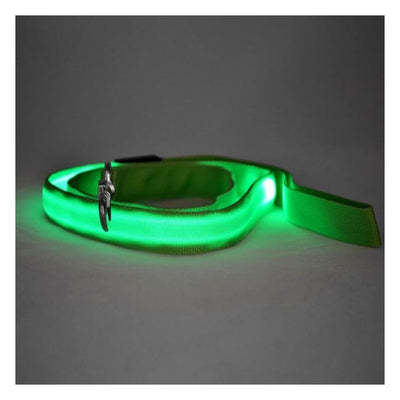 Rechargeable Led Dog Collar Leash (Green) Illuminating Illumination Light LED dog collar Pet Collar Flashing