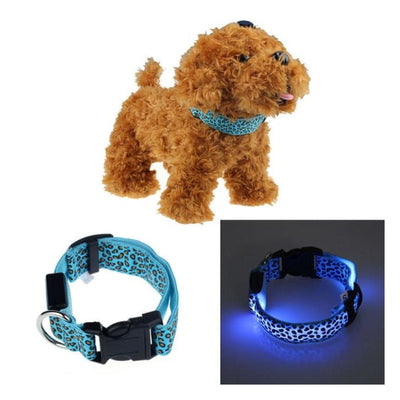 Rechargeable Led Dog Collar Collar - Large (Blue) 40 - 54 Cm Illuminating Illumination Light LED dog collar Pet Collar Flashing