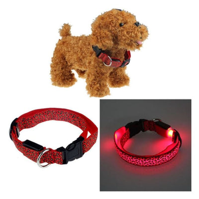 Rechargeable Led Dog Collar Collar - Small (Red) 34 - 42 Cm Illuminating Illumination Light LED dog collar Pet Collar Flashing